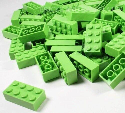 LEGO Mattoni 200 x  Lime 2x4 PIN-Set da Nuovo di Zecca inviati in un sacchetto trasparente sigillati  lo stile classico