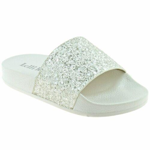 Lelli Kelly Marina blanc paillettes Slider LK9902 Tailles 28-36
