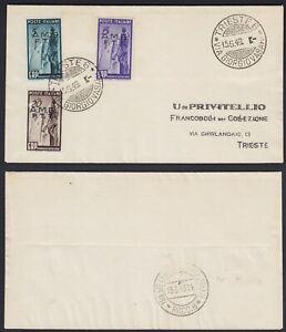 """Trieste A 1949 """"E.R.P"""" la serie dei 3 valori n.43-45 su FDC viaggiata"""