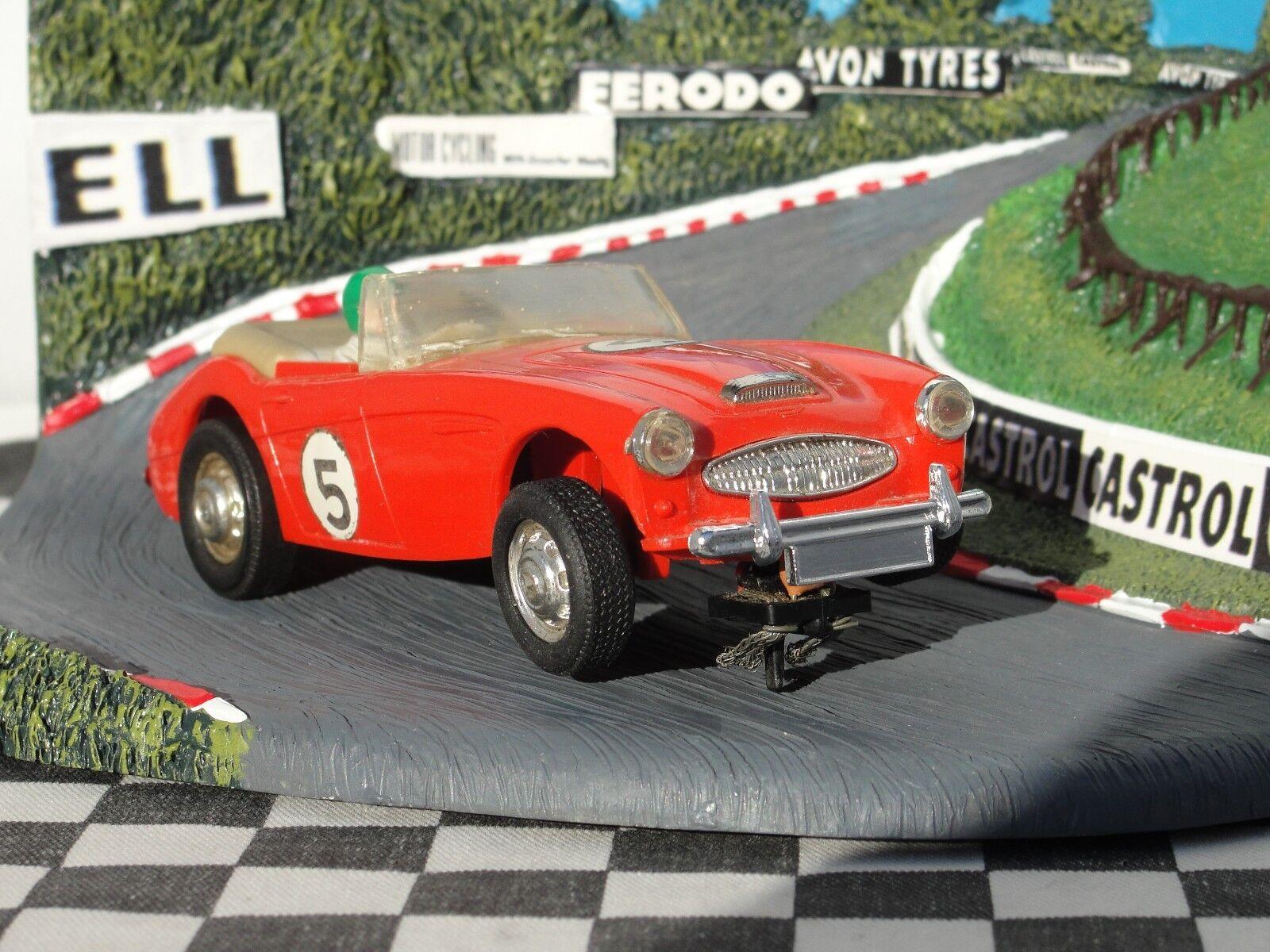 SCALEXTRIC années 1960 Austin Healey 3000 Rouge  5 1 32 Slot utilisé carton