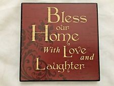 "Hobby Lobby Brown Wood 5X5"" Sign: BLESS OUR HOME WITH LOVE & LAUGHTER"