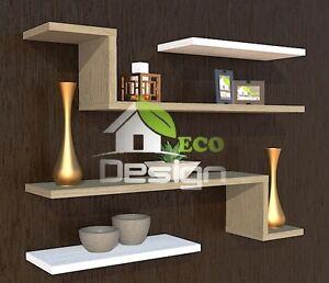 Set 4 mensole in legno eco design varie misure e colori for Misure mensole