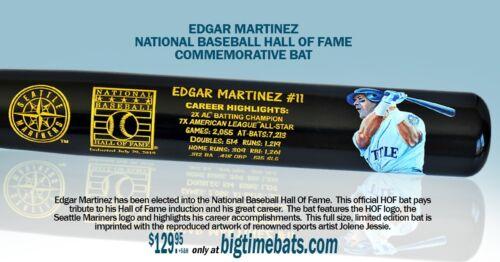 EDGAR MARTINEZ SEATTLE MARINERS HALL OF FAME JOLENE JESSIE ART BAT