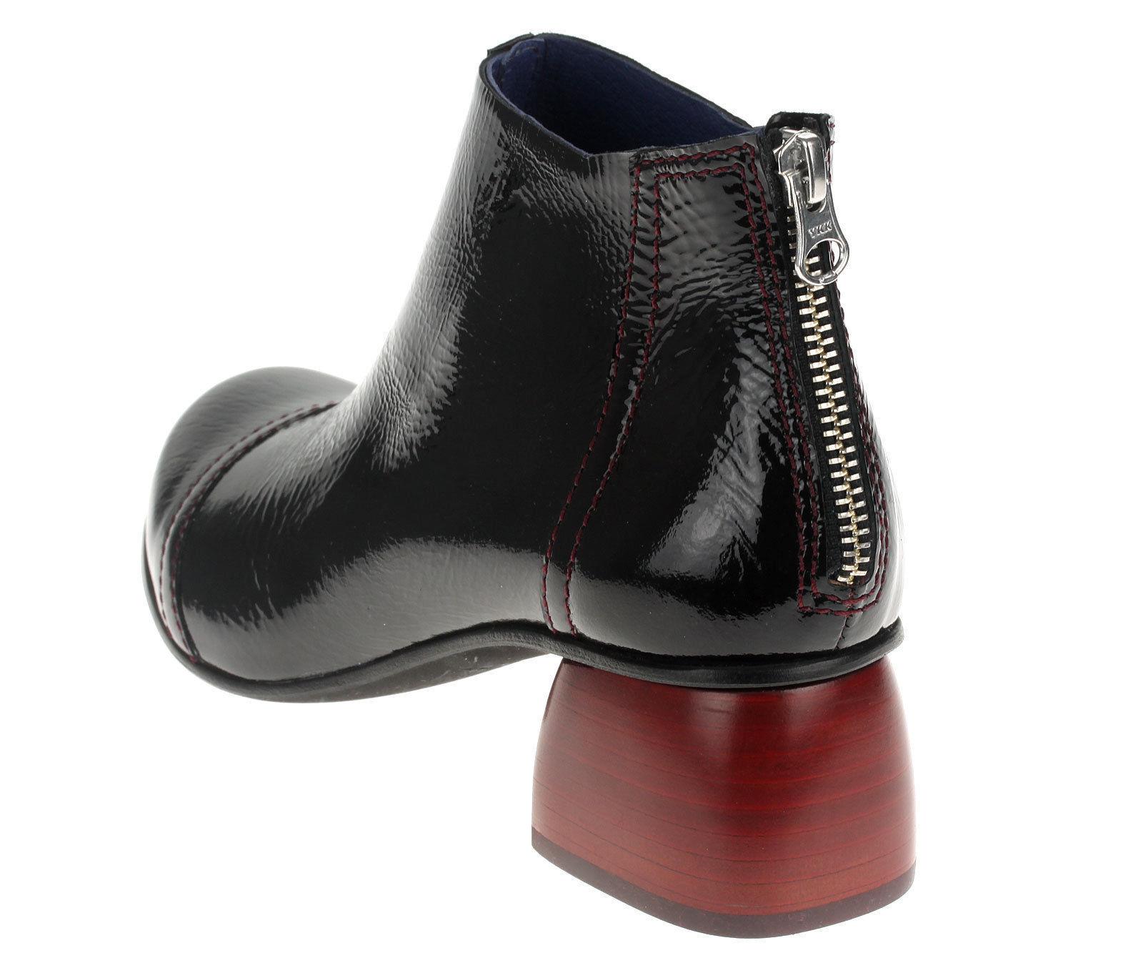 Iim77 chaussures Femme Bottines Véritable Cuir Cuir Cuir bottes démarragey cuir verni 5134 Noir 27d75c