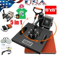 5in1 Combo Heat Press Machine 15x15 Sublimation Transfer T Shirt Mug Plate Hat