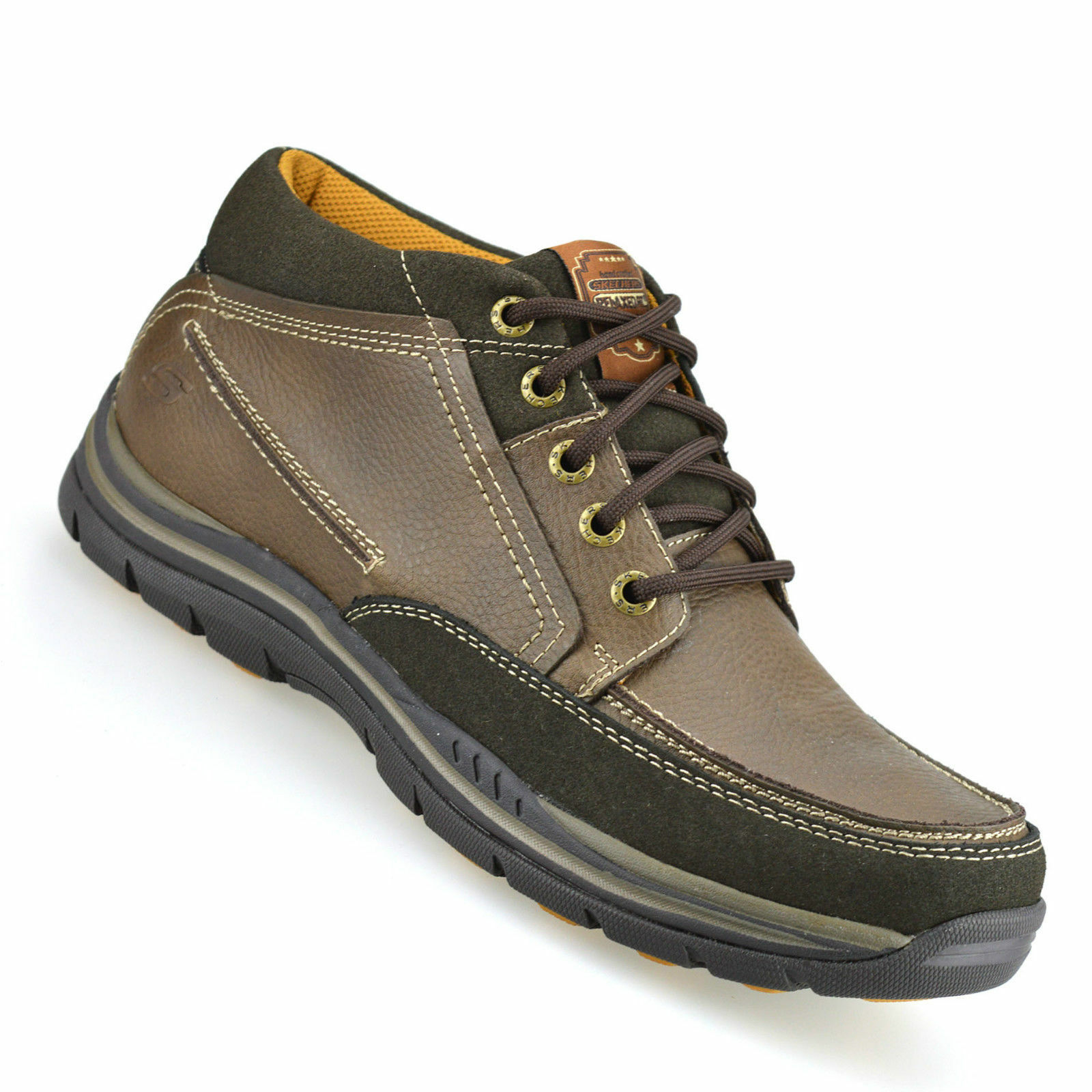 Mens Brown Leather Lace Up Memory Foam Skechers Cason