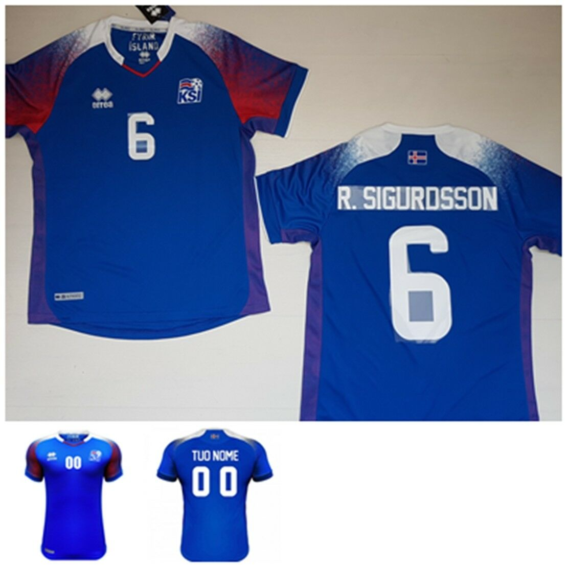 2018 ERREA ISLANDA ICELAND Ísland MAGLIA R.SIGURDSSON JERSEY T-SKYRTA RUSSIA  25