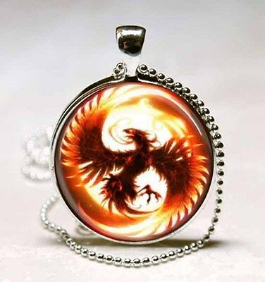 Phoenix Mythical Fire Bird Glass Dome Necklace Pendant (PD0127)