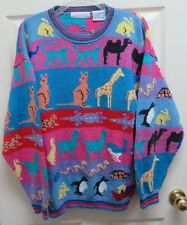 Christine Foley Noah's Ark 100% Cotton Crewneck Sweater Spring Pastel Colors