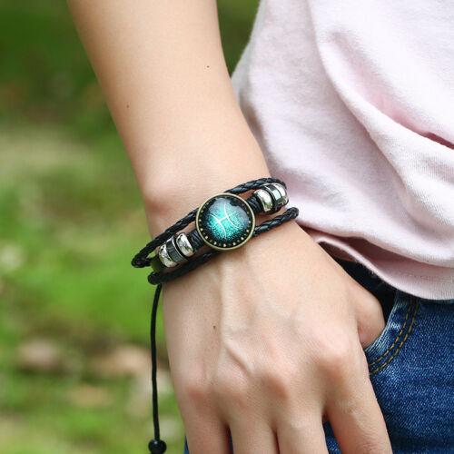 Nouveau 12 Constellation bracelets hommes cuir bracelet accessoires femmes Bijoux