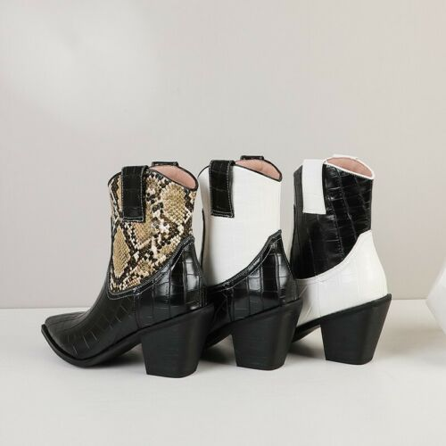 Details about  /3 Colors Women/'s Pumps Work Chelsea Block Heel Pointy Toe Ankle Boots Winter D
