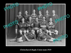 OLD-POSTCARD-SIZE-PHOTO-OF-CHRISTCHURCH-RUGBY-UNION-TEAM-1919-NEW-ZEALAND