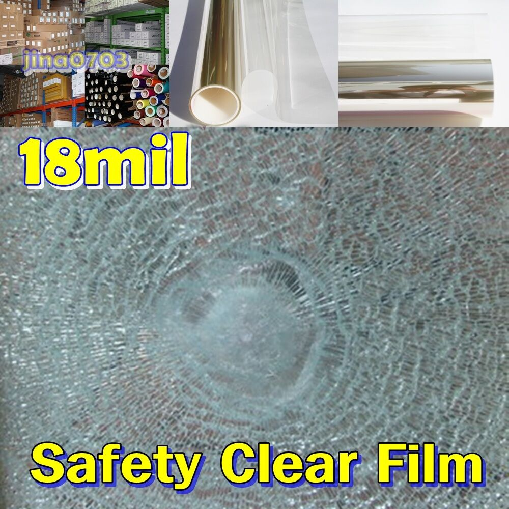 WIDE 30 (76CM) Safety 18Mil Clear Film Window Security Residential UV ROLL Long