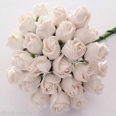 25 Paper Flowers Rose Buds Wedding Party Scrapbook Dolls Craft Supply T30-15