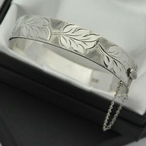 1966-Vintage-Solid-925-Silver-1-2-Engraved-Leaf-Design-Hinged-Bangle-Bracelet