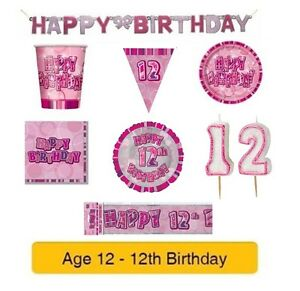 Image Is Loading AGE 12 Happy 12th Birthday PINK GLITZ Party