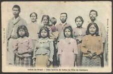Brazil Postcard Villa Itanhaem Indios Native Family Costumes L@@K