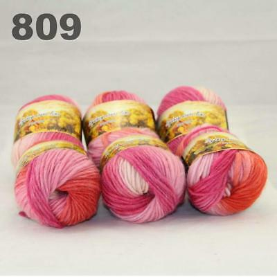 Sale New 6 Skeins x50gr Rainbows Multicolor Hand Knit Wool Yarn Wrap Scarves 04
