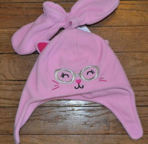 Jumping Beans Super Soft Fleece Hat with matching Mittens Cat Kitty 6-18 month