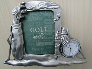 SEAGULL-PEWTER-GOLFING-PICTURE-FRAME-amp-CLOCK-SIGNED-amp-DATED-1994-BY-Etain-Zinn
