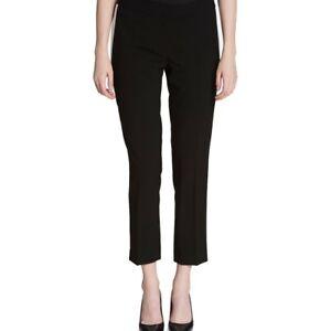 CALVIN-KLEIN-Women-039-s-Black-Contrast-White-Side-Straight-Leg-Dress-Pants-TEDO