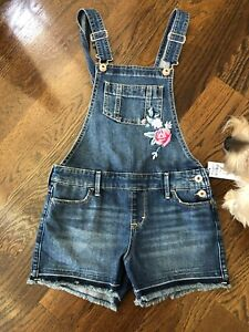 NWT-Abercrombie-Kids-Denim-Overall-Shorts-Roses-11-12