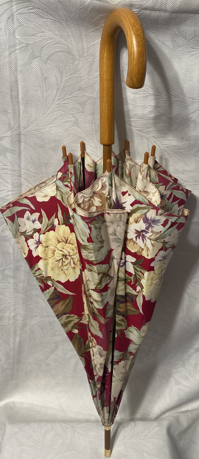 Vtg Polo Ralph Lauren Large Floral Wood Hook Handle UMBRELLA *Gorgeous*