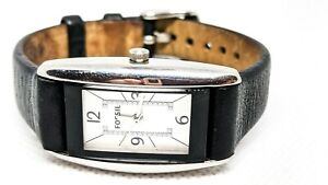 Fossil-ESB-2418-watch-Silver-black-leather-adjustable-band-21mm-New-Battery