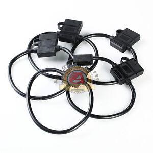 5 PACK 10 GAUGE ATC FUSE HOLDER IN-LINE AWG WIRE COPPER 12V BLACK OR RED