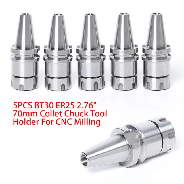 Silver Steel BT30-ER20-70L Collet Chuck CNC Lathe Milling Tool Holder Collet