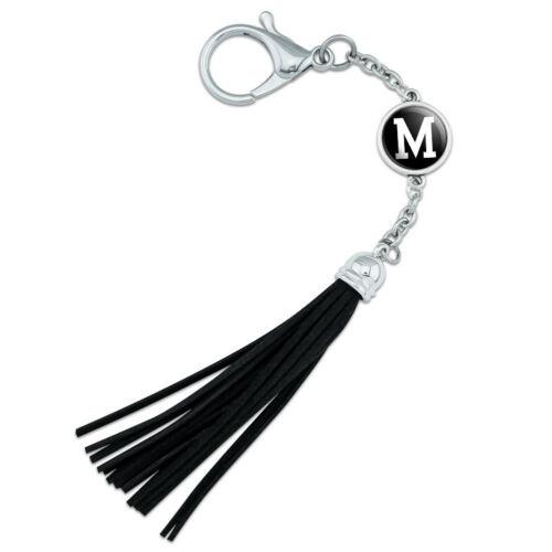 Letter M Initial Black White Backpack Handbag Purse Bottle Keychain Tassel Charm
