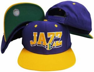 Utah-Jazz-Purple-Yellow-Wave-Two-Tone-Plastic-Snapback-Adjustable-Cap
