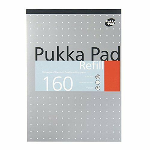 80 Pages White Pukka Pad A4 Punched 4 Hole Ruled Feint and Margin Refill Pad
