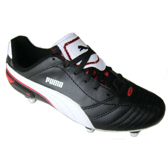 Puma Football Boots Studded Finale SG JR Black White Red UK10 Infants-UK5 c299a8f7c