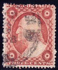 #26A - 3 Cents 1857, 30R10i, slight DT, black OCT 1858-dated CDS, Rose Brown