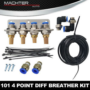Diff-Breather-Kit-101-4-point-fit-Nissan-Patrol-Navara-D22-D40-MQ-GU-GQ-Uni