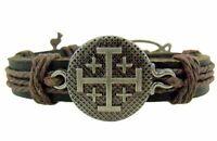Jerusalem Cross Leather Bracelet (tc405)