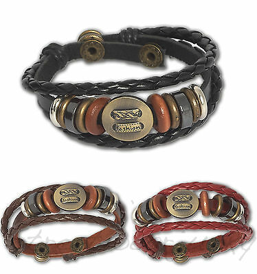 ★Leder Vintage Armband im Maori Surfer Tiki Styl Unisex Bracelet Leather E07★
