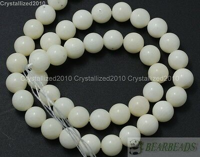 Natural White Coral Gemstone Round Ball Beads 6mm 8mm 10mm 12mm 14mm 16mm 16''