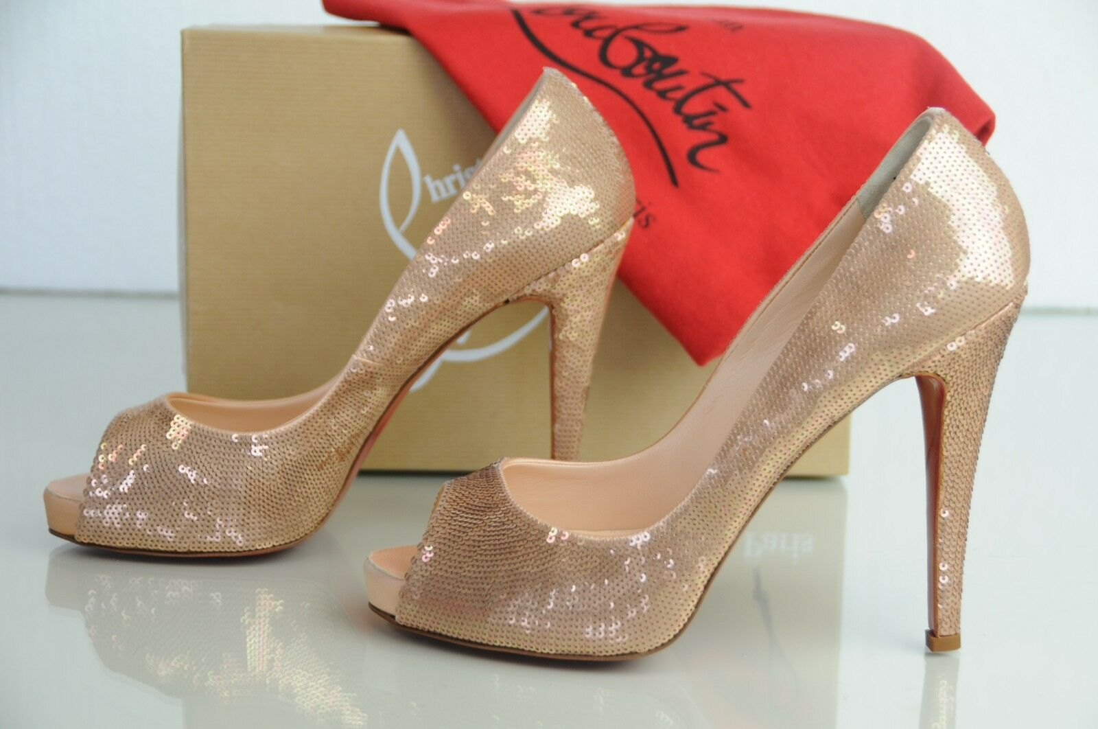 New CHRISTIAN LOUBOUTIN VERY PRIVE EVENING Paillettes Paillettes Paillettes Nude Beige Heels SHOES 41 053e08