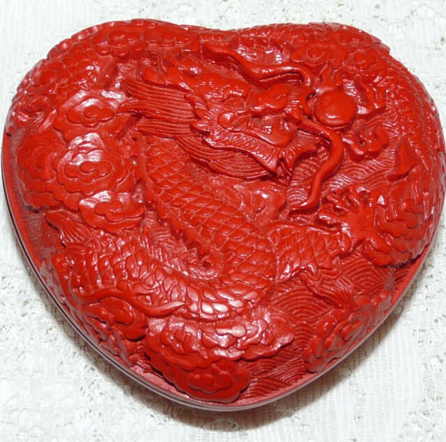 Vintage Chinese Carved Red Cinnabar Dragon Design Heart Trinket Box  Y54*