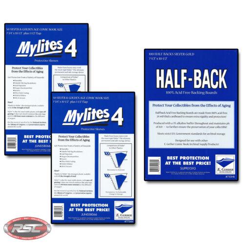 100 E GERBER HALF-BACK /& MYLITES 4 SILVER /& GOLDEN AGE Mylar 750HB//775M4