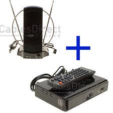 50+ MILE DIGITAL SIGNAL BOOSTER INDOOR TV ANTENNA SET KIT VHF UHF FM Amplifier