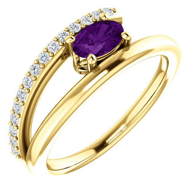 Amethyst & 1 8 CTW Diamond Bypass Ring In 14K Yellow gold