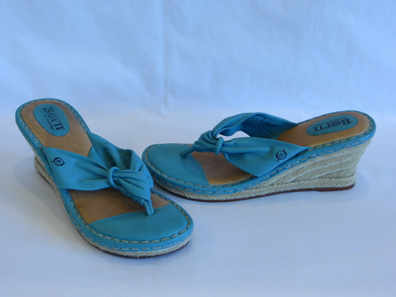 Born Turquoisen Smooth Leather & Jute Wedge Heels / Thongs / Sandals - 10M GR8!
