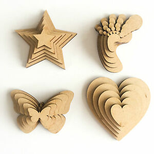 Wooden-MDF-Shapes-Hearts-Stars-Butterfly-Bunting-Craft-Embellishments-Decoration