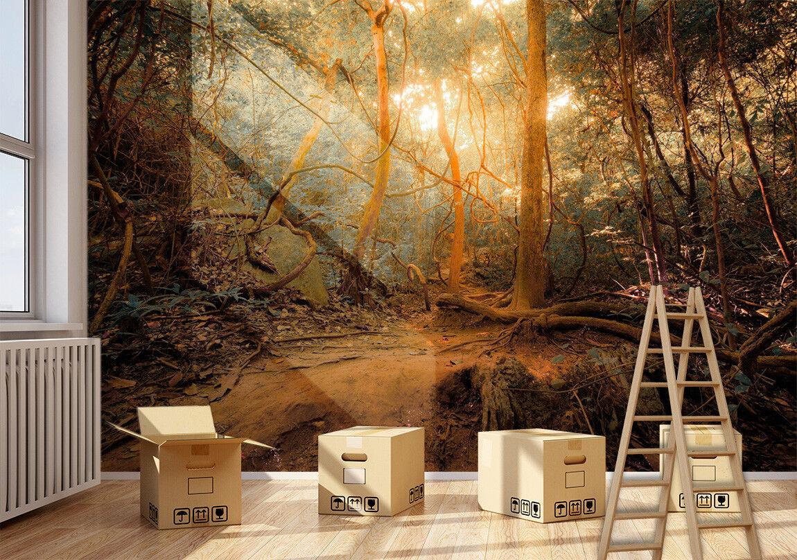 3D Wald Sonnenschein 7688 Tapete Wandgemälde Tapeten Bild Familie DE Lemon | Sale Online  | Outlet Store Online  | Deutschland Shop