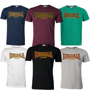 Lonsdale T-Shirt Premium Classic Slim-Fit Flock Print Logo 100% Cotton Hemd
