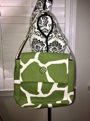 Made Bag ~ Boutique Green Giraffe Print Hand White Preppy Shoulder BxoWQerdEC