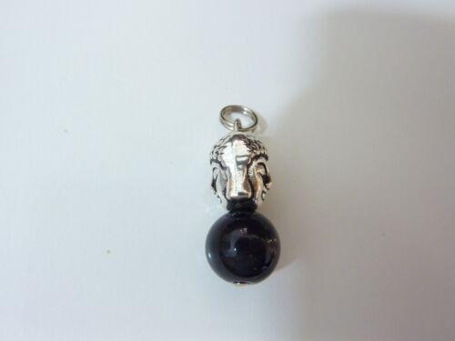 Pendentif protection Bouddha Obsidienne oeil celeste perles 10mm longueur 2,7 cm